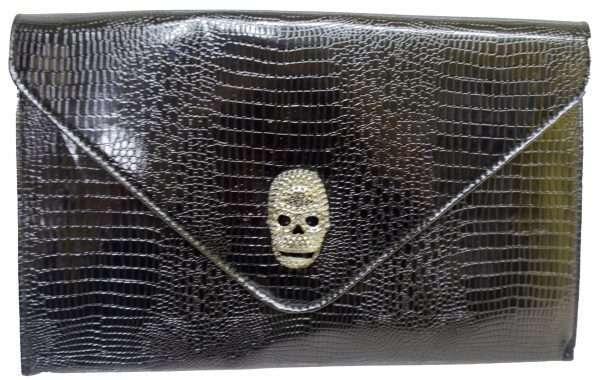 black patent skull clutch