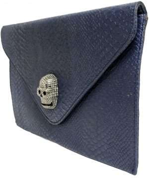 navy skull clutch