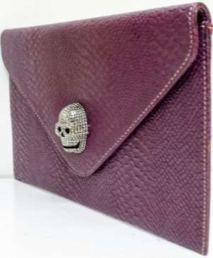 burgandy skull clutch