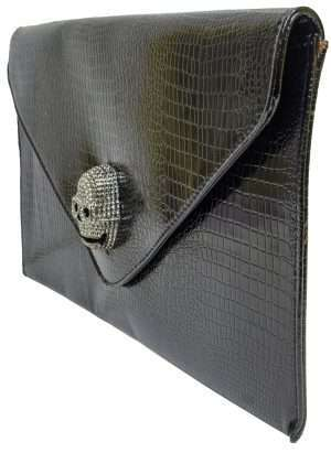 black patent skull clutch