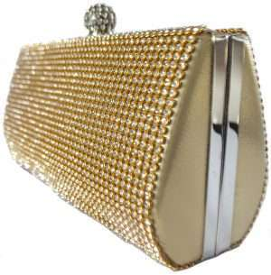 gold diamonte clutch
