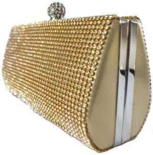 gold diamonte clutch