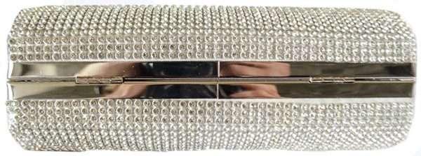 silver diamonte clutch